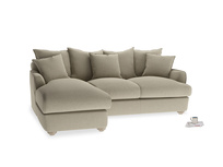 Large left hand Smooch Chaise Sofa in Jute vintage linen