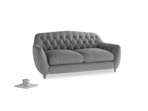 Medium Butterbump Sofa in Gun Metal brushed cotton