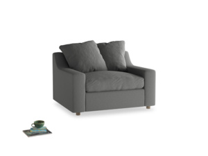 Cloud Love seat in French Grey brushed cotton