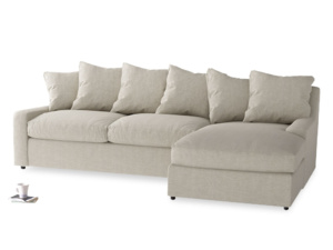 XL Right Hand  Cloud Chaise Sofa in Thatch house fabric