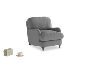Jonesy Armchair in Gun Metal brushed cotton