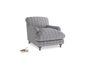 Pudding Armchair in Brittany Blue french stripe