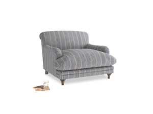 Pudding Love seat in Brittany Blue french stripe