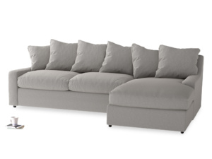 XL Right Hand  Cloud Chaise Sofa in Wolf brushed cotton