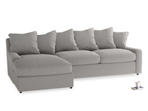 XL Left Hand  Cloud Chaise Sofa in Wolf brushed cotton