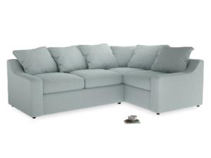 Large Right Hand Cloud Corner Sofa in Duck Egg vintage linen