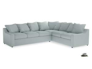 Xl Right Hand Cloud Corner Sofa in Duck Egg vintage linen
