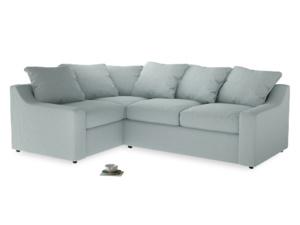 Large Left Hand Cloud Corner Sofa in Duck Egg vintage linen