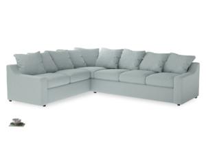 Xl Left Hand Cloud Corner Sofa in Duck Egg vintage linen