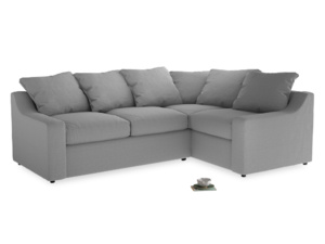 Large Right Hand Cloud Corner Sofa in Magnesium washed cotton linen