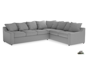 Xl Right Hand Cloud Corner Sofa in Magnesium washed cotton linen
