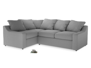 Large Left Hand Cloud Corner Sofa in Magnesium washed cotton linen