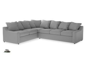 Xl Left Hand Cloud Corner Sofa in Magnesium washed cotton linen