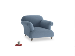 Soufflé Armchair in Nordic blue brushed cotton