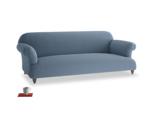 Large Soufflé Sofa in Nordic blue brushed cotton
