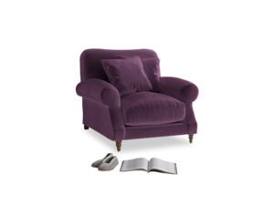Crumpet Armchair in Grape clever velvet