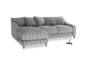 Large left hand Oscar Chaise Sofa in Brittany Blue french stripe
