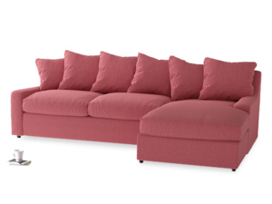 XL Right Hand  Cloud Chaise Sofa in Raspberry brushed cotton