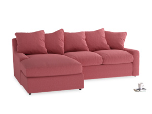 Large left hand Cloud Chaise Sofa in Raspberry brushed cotton