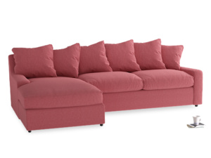 XL Left Hand  Cloud Chaise Sofa in Raspberry brushed cotton