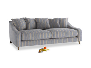 Large Oscar Sofa in Brittany Blue french stripe