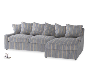 XL Right Hand  Cloud Chaise Sofa in Brittany Blue french stripe