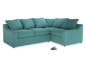Large Right Hand Cloud Corner Sofa in Peacock brushed cotton