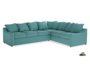 Xl Right Hand Cloud Corner Sofa in Peacock brushed cotton