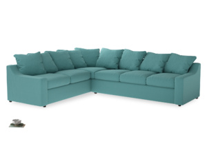 Xl Left Hand Cloud Corner Sofa in Peacock brushed cotton