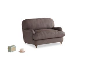 Jonesy Love seat in Dark Chocolate beaten leather