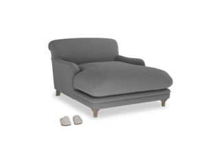 Pudding Love seat chaise in Gun Metal brushed cotton