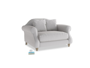 Sloucher Love seat in Flint brushed cotton