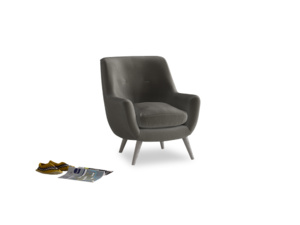 Berlin Armchair in Slate clever velvet