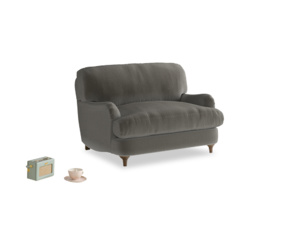 Jonesy Love seat in Slate clever velvet