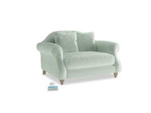 Sloucher Love seat in Mint clever velvet