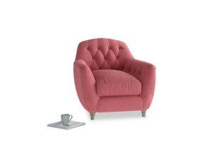 Butterbump Armchair in Raspberry brushed cotton