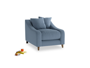Oscar Armchair in Nordic blue brushed cotton
