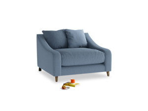 Oscar Love seat in Nordic blue brushed cotton