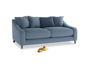 Medium Oscar Sofa in Nordic blue brushed cotton