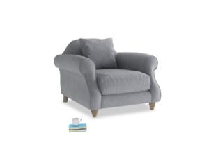 Sloucher Armchair in Dove grey wool