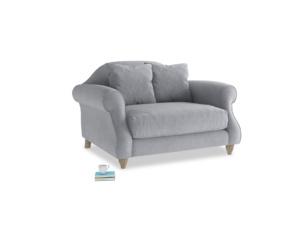 Sloucher Love seat in Dove grey wool