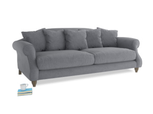 Large Sloucher Sofa in Dove grey wool