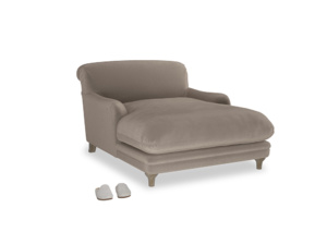 Pudding Love seat chaise in Fawn clever velvet