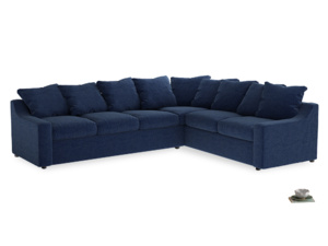 Xl Right Hand Cloud Corner Sofa in Ink Blue wool