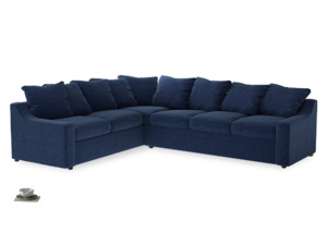 Xl Left Hand Cloud Corner Sofa in Ink Blue wool