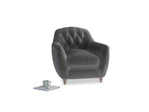 Butterbump Armchair in Steel clever velvet
