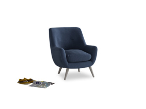 Berlin Armchair in Navy blue brushed cotton