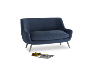 Small Berlin Sofa in Navy blue brushed cotton