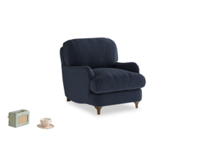 Jonesy Armchair in Indigo vintage linen