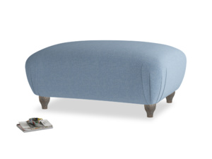 Rectangle Homebody Footstool in Nordic blue brushed cotton